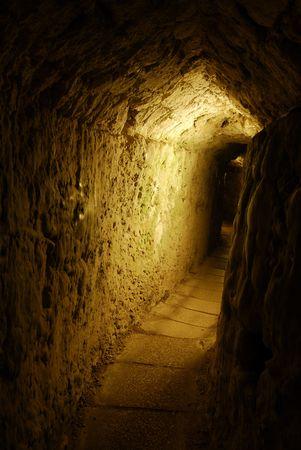 templars: An underground corridor in Acre, Israel Stock Photo