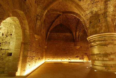 templars: An underground in Acre, Israel Stock Photo