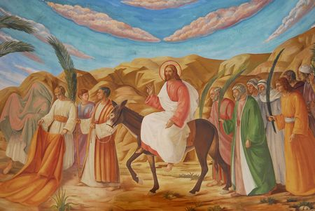 jesus paintings: Palm Sunday in the Jerusalem