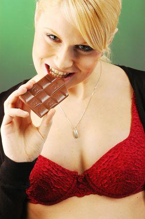 A blonde young pretty pregnant woman photo