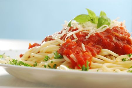 taller: An arranged taller of spaghetti with tomato sauce Stock Photo