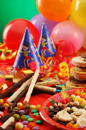 sweetness: A table with sweets on children party