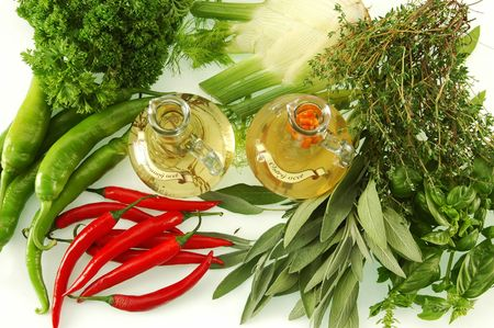 miscellaneous: Different vinegars with miscellaneous herbs Stock Photo