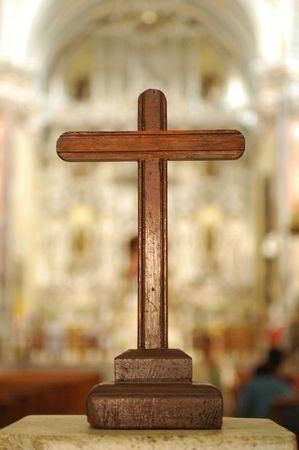교회의 보행자에 십자가 스톡 콘텐츠