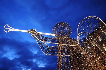 town square: Christmas Angel on Old Town Square in Prague