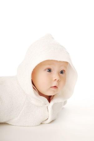 nursling: A baby in white hood