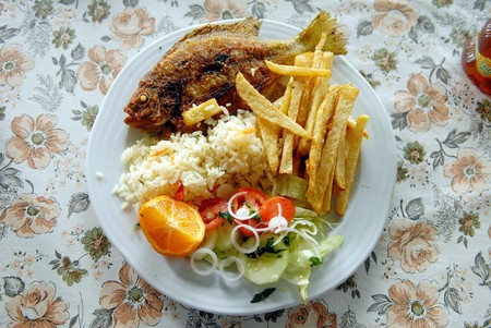 plateful: The fried fish with French potatoes and rice.