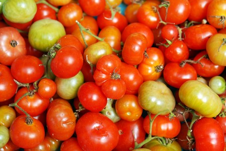 unripened: The pile of tomatos in the shop.