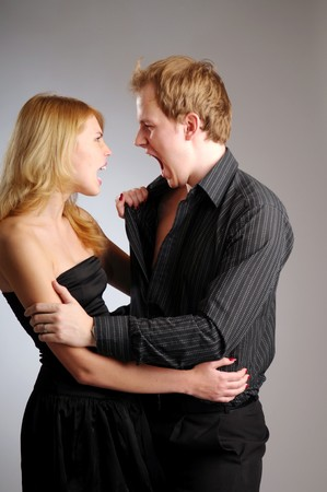 disputed: The young attractive disputed pair in black clothes.
