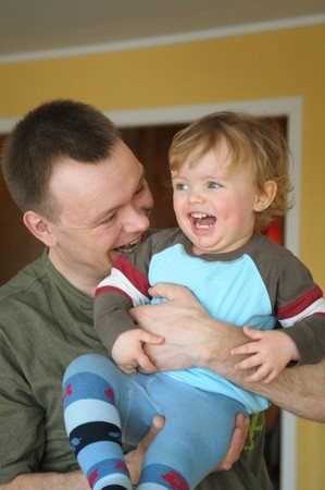 progeny: The portrait of the father and his child. Stock Photo