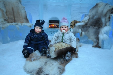joyousness: The little children in Igloo hotel in Alta - north Norway.