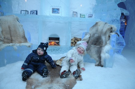 The little children in Igloo hotel in Alta - north Norway.