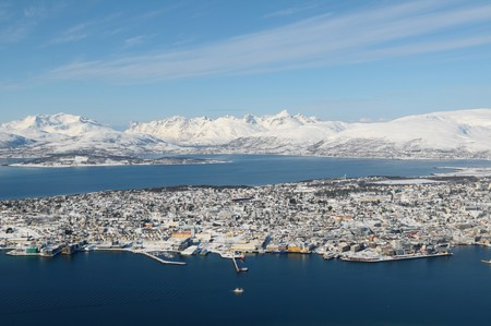 The snow-covered landscape in Tromso - north Norway. Stock Photo