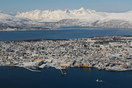 seacoast: The snow-covered landscape in Tromso - north Norway. Stock Photo