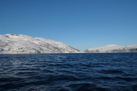 briny: The snow-covered landscape in Kvaloya - north Norway.