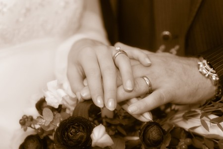 joyousness: The detail of hands of newlywed with rings.