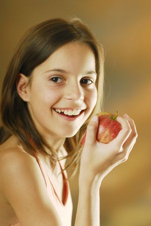 giggle: A girl with an apple