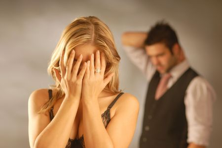 weeping: A young pair together. Stock Photo