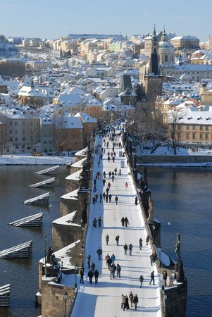 Charles bridge in Prague in winter. photo