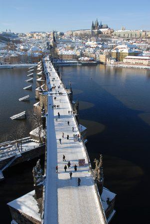 Charles bridge in Prague in winter.
