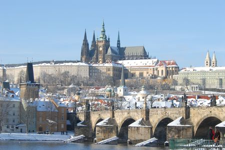 Historic Prague in winter. photo