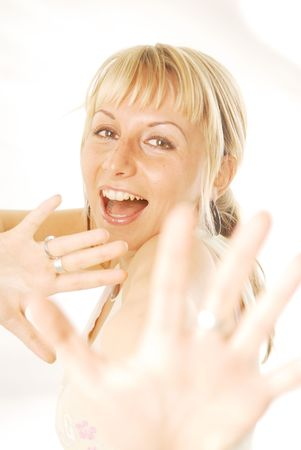 refusal: An young woman with refusal gesture. Stock Photo