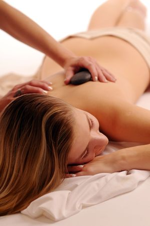 joyousness: The attractive young woman during the relax massage.