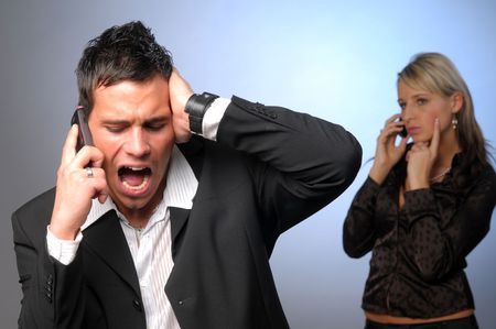 exasperation: The portrait of the attractive annoyed businessman. Stock Photo