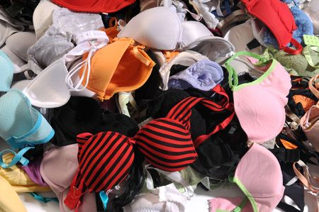 The pile of colourful bra.