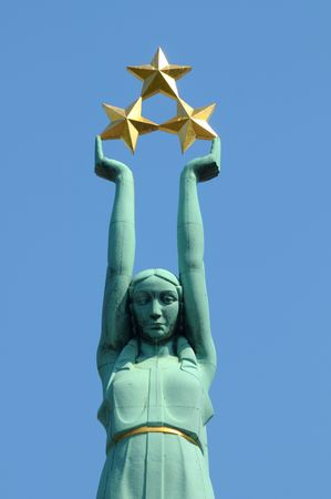 latvia girls: The monument of the liberty in Riga.