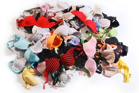 heap: The pile of colourful bra.