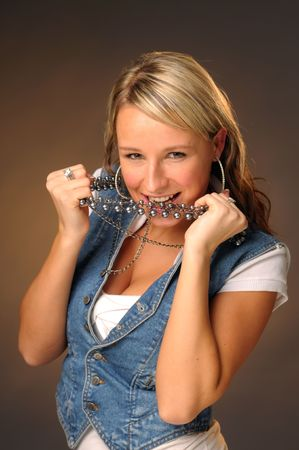 perls: The portrait of the attractive blond young model. Stock Photo