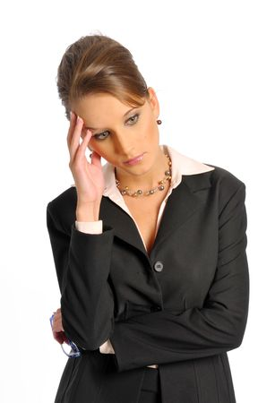 The business woman in dark formal clothes photo