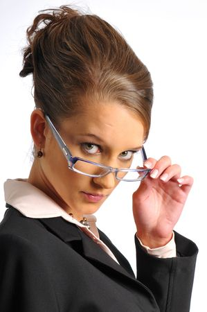 The business woman in dark formal clothes Stock Photo - 6362132