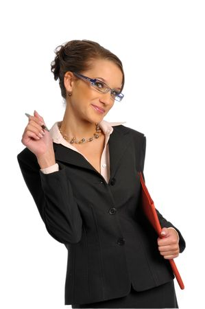 The business woman in dark formal jacket with ballpoint photo