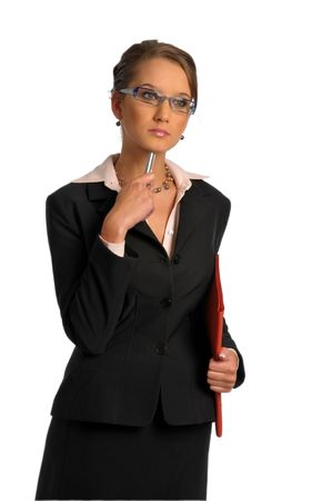 The bussiness woman in dark formal jacket with ballpoint photo