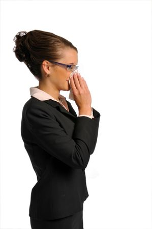 hanky: Atractive business woman in formal clothes with hanky Stock Photo