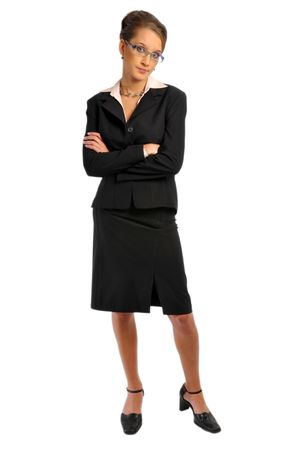 exasperation: The attractive business woman in formal clothes
