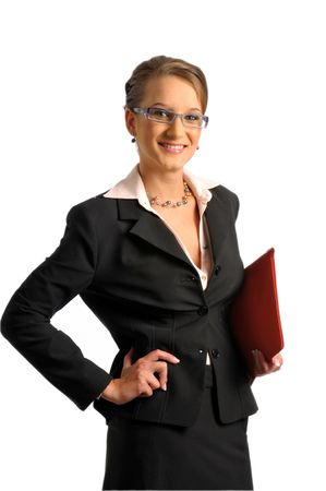 The bussiness woman in dark formal jacket with red covers photo