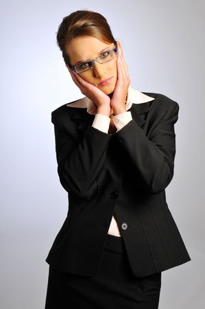 The sad attractive business woman in formal clothes Stock Photo - 6362239