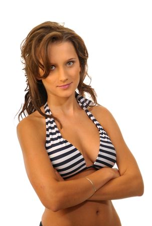 The attractive woman in stripped swimsuit on white background photo