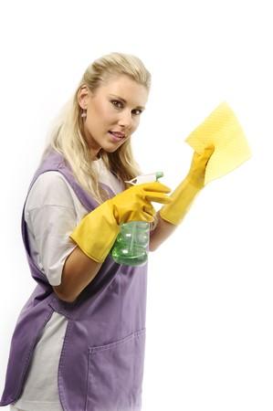 mujer limpiando: Mujer de la limpieza en blanco apaisada