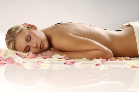 woman lying on a white background Stock Photo