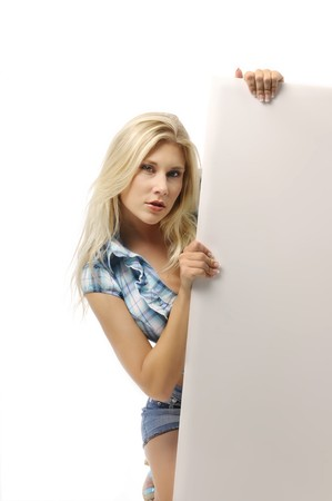 Blond woman in blouse on white background  photo