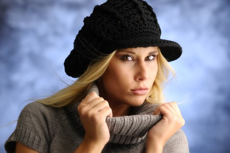 tremble: Blond girl in a hat and jersey