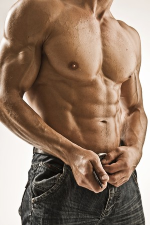 sixpack: muscular body Stock Photo