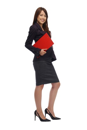 Woman in a black suit on white background photo