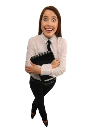 Manager with a laptop in white chemise and black trousers on white background photo