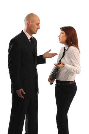 Man and woman, Business meeting, suit, on white background photo