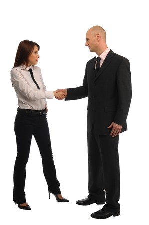 Handshake between men and women, white background Foto de archivo